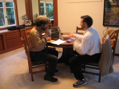 Fred Wilson recording the acoustiguide for Parallel Lives, San Francisco, 2003